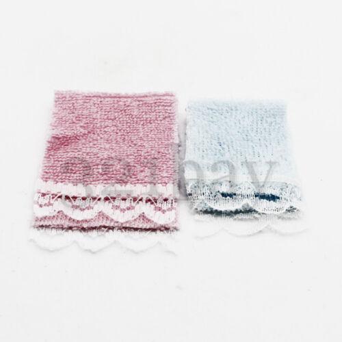 Mini Handtuch Zubehör für Puppenstube Handtücher Tuch Tücher Badezimmer 1:12 Puppenstuben & -häuser