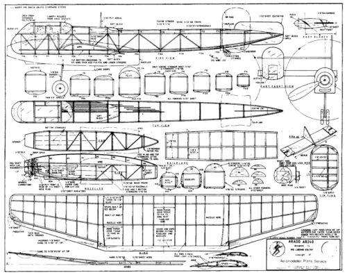 ARADO 240 SCALE RUBBER POWER FREE FLIGHT PLAN