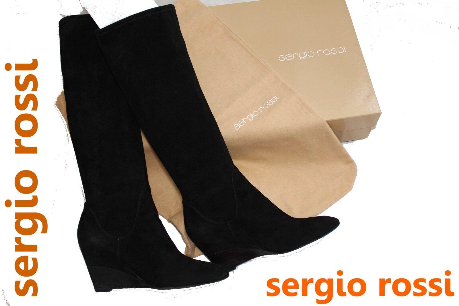 ~ sergio rossi ~ lujo señora botas ~ ~ como nuevo ~ OVP + bolsa ~ elástico negro ~!
