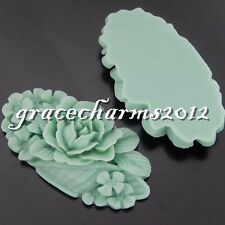 6x Green Tone Resin Lotus Flowers Decoration Fittings Crafts Findings 50625