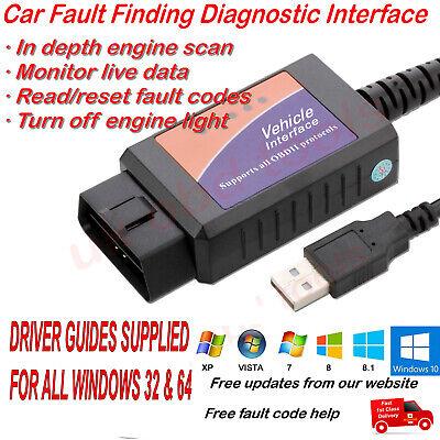 Renault Clio Diagnostic Cable PC Lead USB OBD2 Laptop Lead USB OBD Scanner