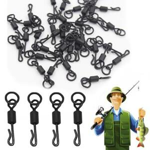 Quick-Change-Ring-Swivels-Haken-Karpfen-Schwarz-Rig-Link-Fishing-Angel-Q9M5
