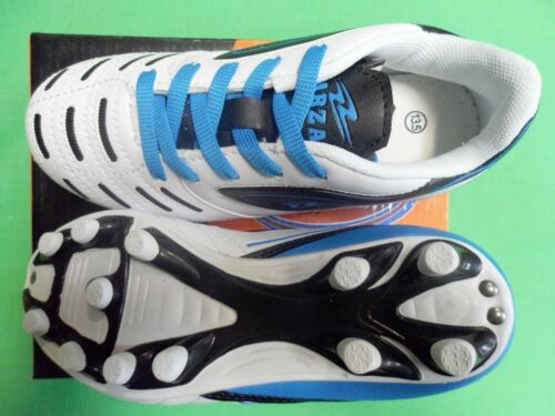 Arza Kids Soccer Cleats Color White//Royal Soft Sintetic Leather