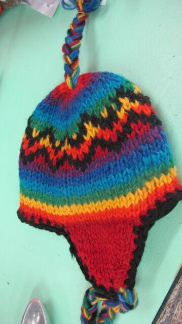 Kids childs  rainbow earflap beanie Cute as!