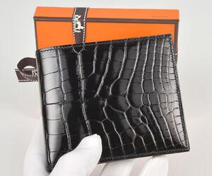 SUPER-RARE-Authentic-HERMES-Copernic-Men-039-s-Wallet-Shiny-Black-Alligator-WOW
