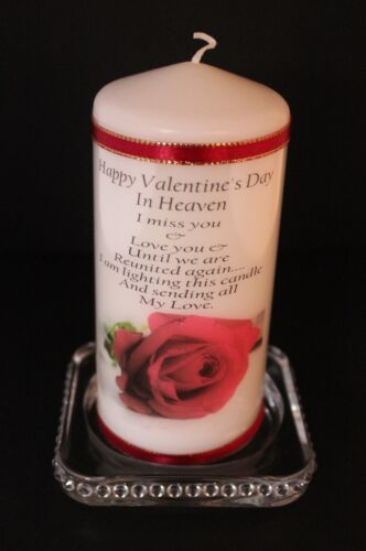 """Valentine memorial poem candle /""""if roses grow in heaven/"""""""