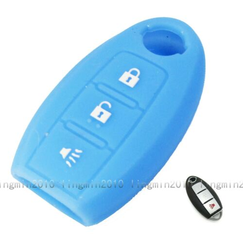 3 Button Blue Silicone Cover Key Case Shell Jacket For Nissan Rogue Versa 370Z