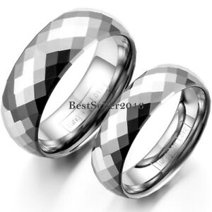 Silver Tungsten Carbide Polished Dome Faceted Ring Anniversary Wedding Band