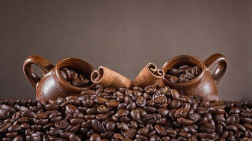 Poster Coffee Beans Cups Cinnamon
