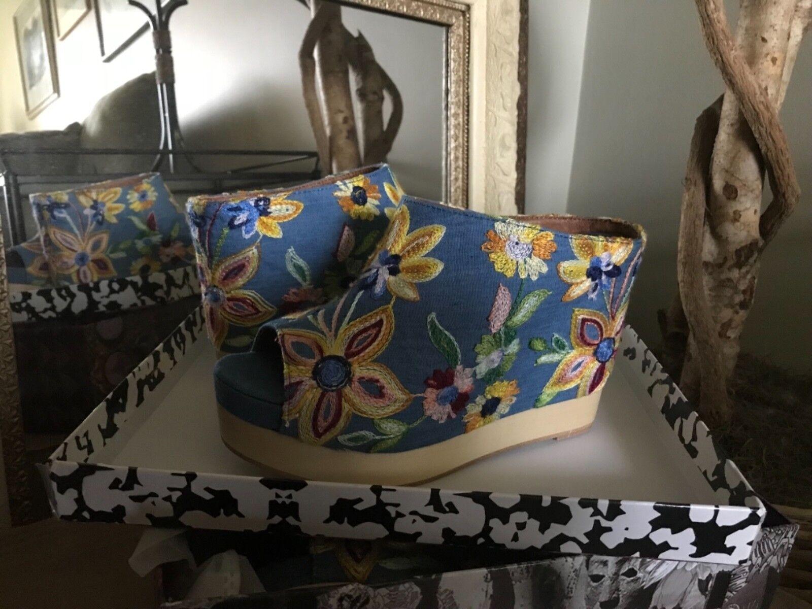 Jeffrey Campbell femmes Embroiderouge Denim Platform Mule 9M MSRP  190