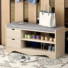 Q08S Shoe Bench Organizer Seat Wooden Cabinet Storage Wood Stand