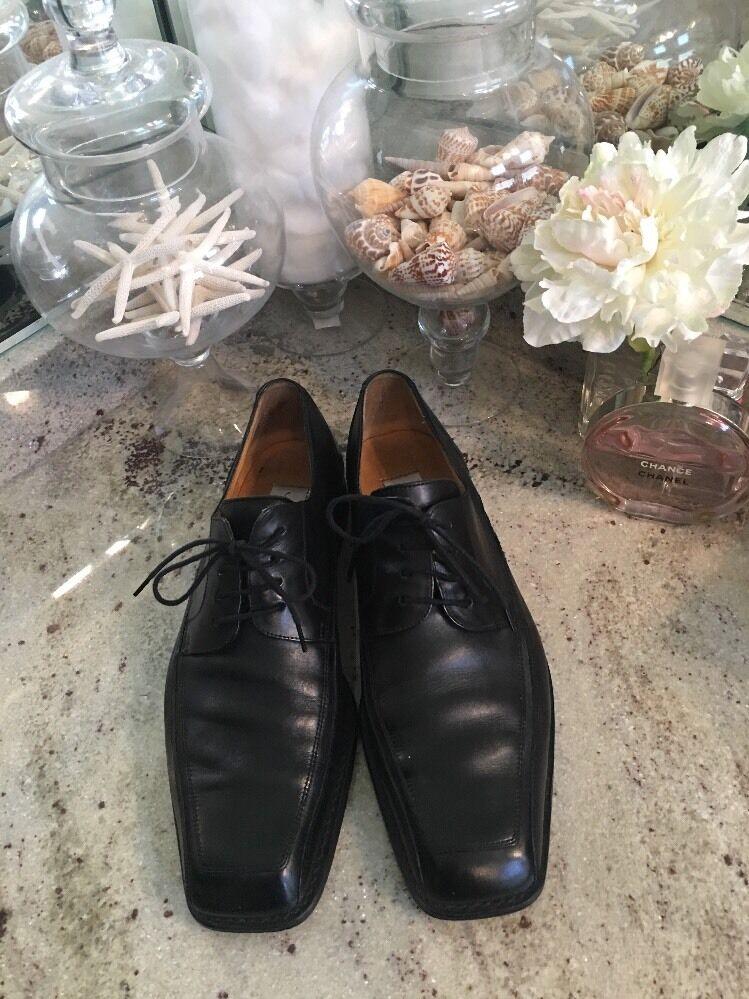 Euc Mezlan Men's Caspeo Black  Leather Square Toe Oxfords Lace Up Size 9 M