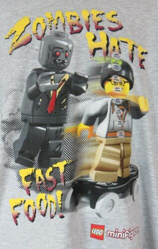 Lego Zombies Hate Fast Food Boys T-Shirt New Gray Officially Licensed Minifigure