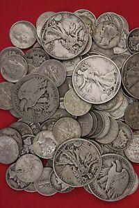 MAKE OFFER 4 Standard Ounces 90/% Silver Junk Coins Ben Franklin Mercury Walking
