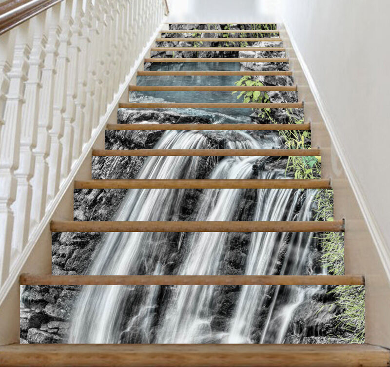 3D Waterfall Stone 688 Risers Decoration Photo Mural Vinyl Decal Wallpaper CA