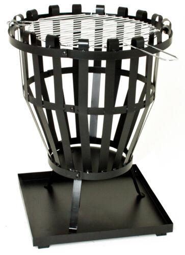 lackiert Grillrost schwarz 46 x 59 cm .Feuerkorb Ascheschale D x H