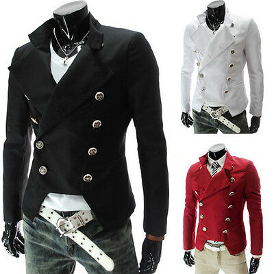 Fashion Men's Slim Fit Double Breasted Blazer Casual Coat Jacket 4 Size XS~L New