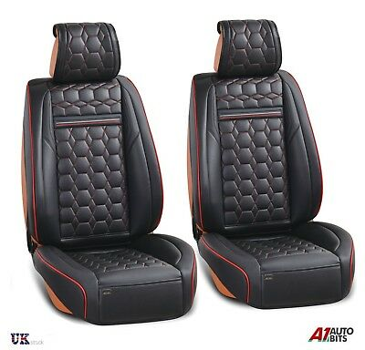 Deluxe Black PU Leather Front Seat Covers Padded For Skoda Octavia Superb Fabia