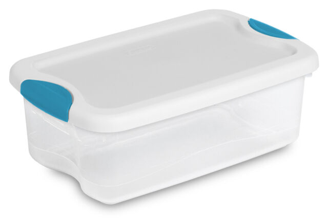 Sterilite 6-Quart Clear Storage Tote Box Latching Container Lid (12 Pack) 1882