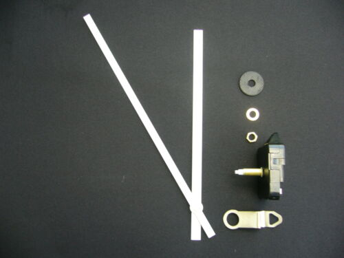 HIGH TORQUE CLOCK MOVEMENT  EXTRA LONG SPINDLE 200MM WHITE METAL HANDS