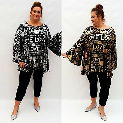 Wolfairy Plus Size Dress Tunic Lagenlook Loose Long Sleeve Shiny Glitter Party