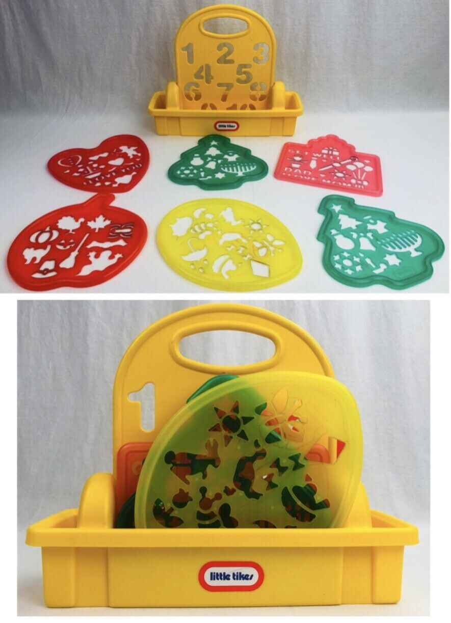 Little Tikes 7 Stencil Set Carrying Case w  Handle ABC Valentine Christmas Fall