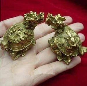 China-039-s-rare-bronze-statue-carving-delicate-a-pair-of-old-dragon-turtle
