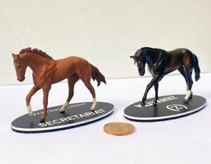 Secretariat and Zenyatta Pewter Miniature Figurines - Matched Set