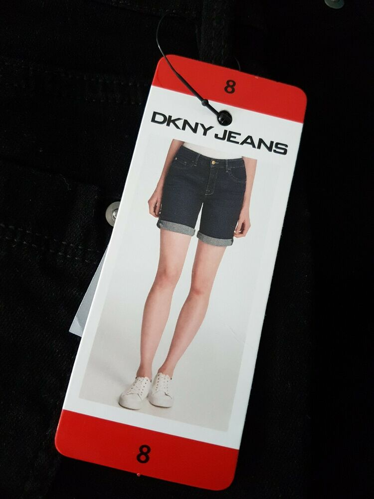 Bnwt Noir Dkny Jeans Shorts Taille 8 Free P&p Holiday Winter Sun Collants & Bottes