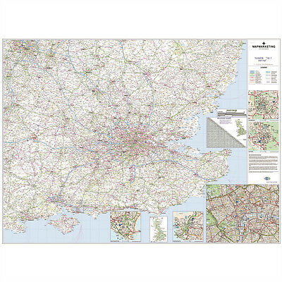 South East London Map.Brand New Laminated Wall Road Map Of South East England London Poster Map107 Ebay