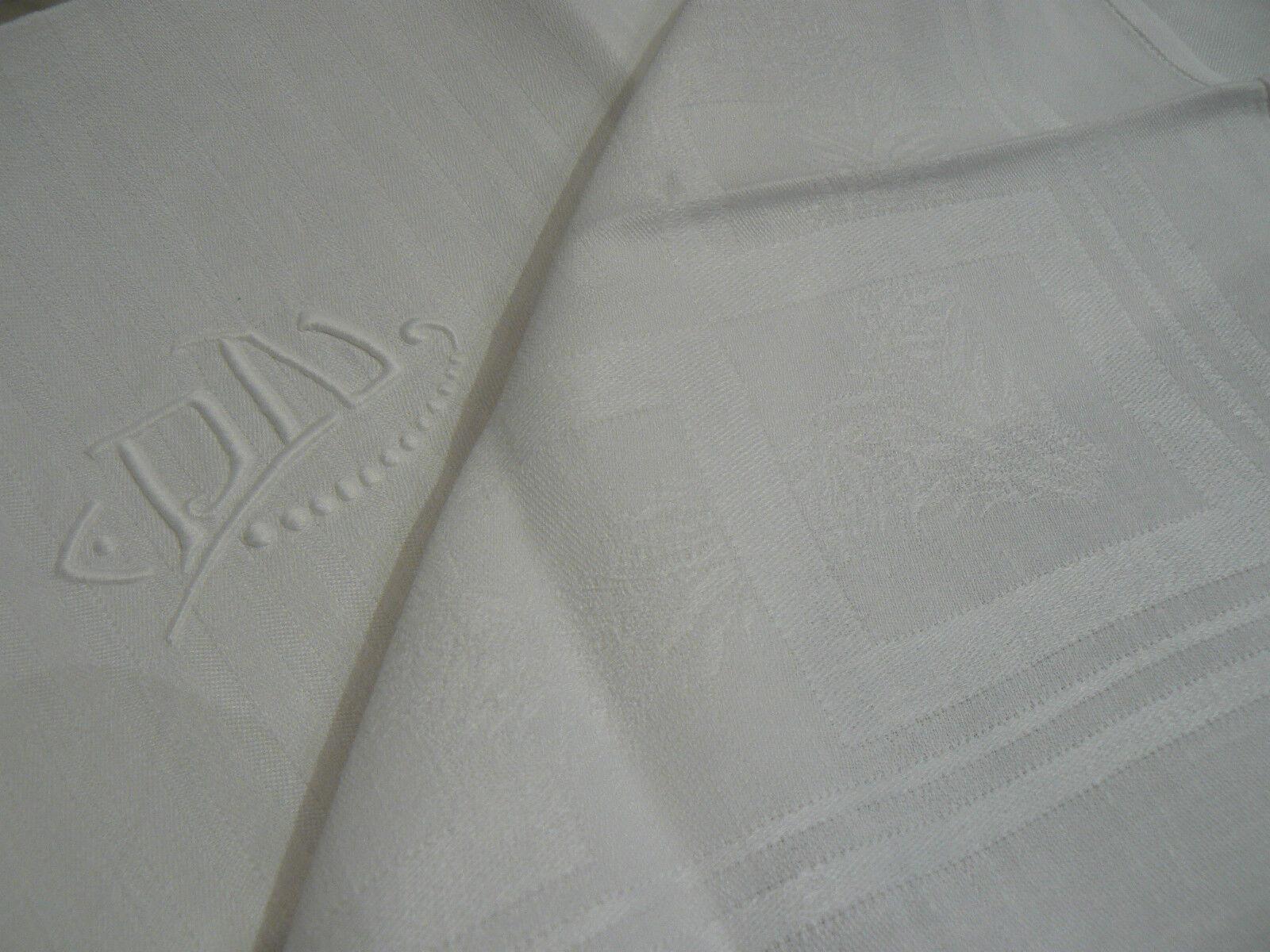ancienne serviette rayures colorees  damassé de pois monogramme TR rose
