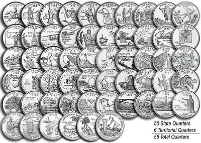 56 coins Uncirculated State Quarters 1999-2009 with WHITMAN CLASSIC  ALBUM