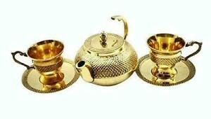 Brass Embosed Kettle & 2 Tea Cup Set Include Plates