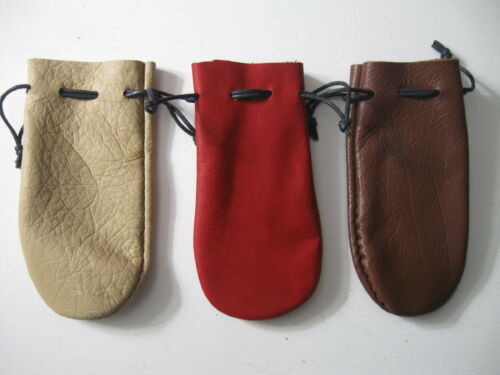 CLEARANCE LOT OF 3  MEDIUM SIZED LEATHER COIN POUCH FREE SHIPPING IN USA.