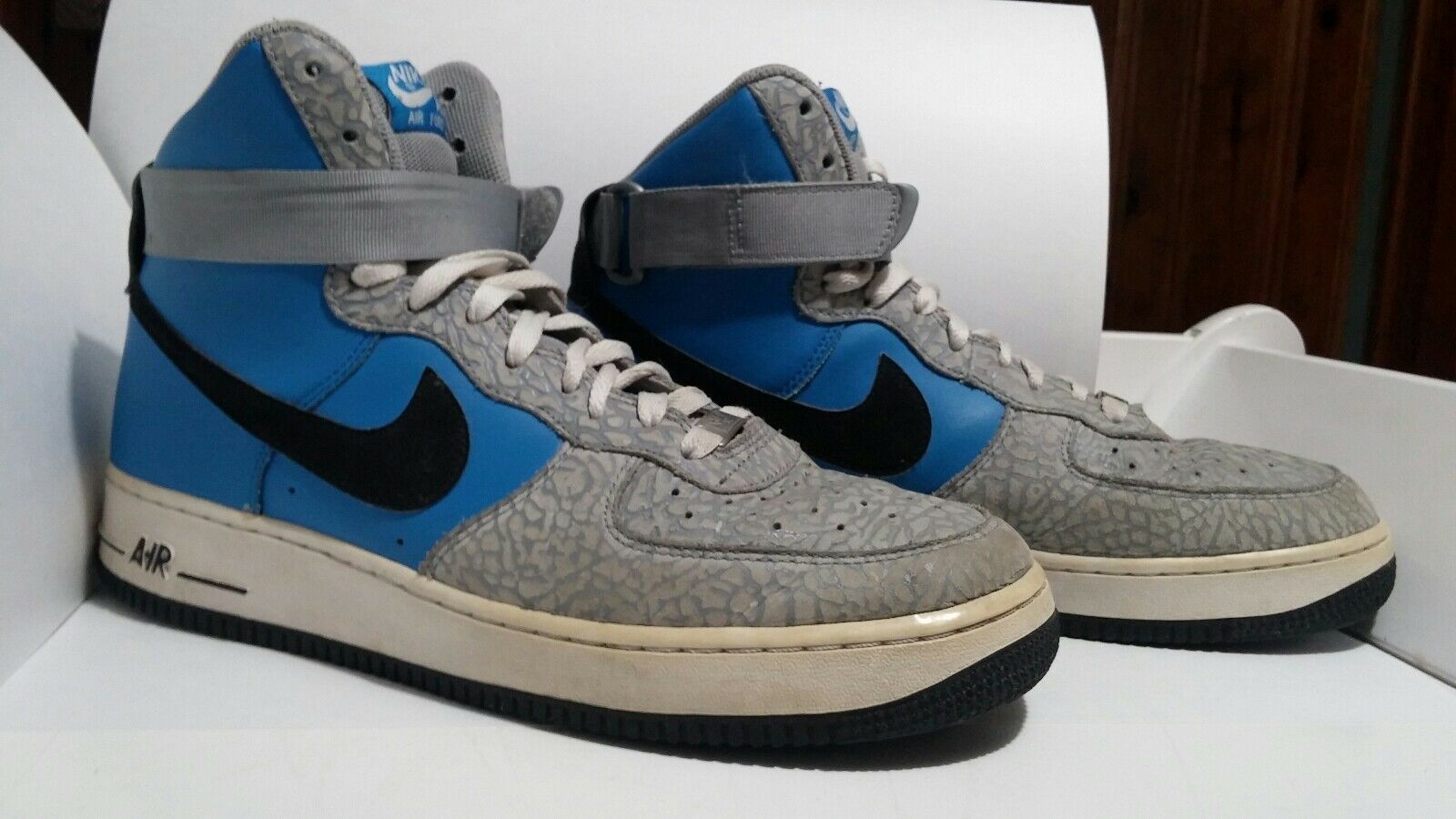 Nike Air Force 1 Blue/Grey Elephant Print Men's 10.5 Shoes RARE