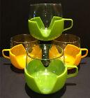 Set 4 FUNKY 1970s Vintage GLASS Coffee Mugs CUPS w PLASTIC Holders RETRO Holland