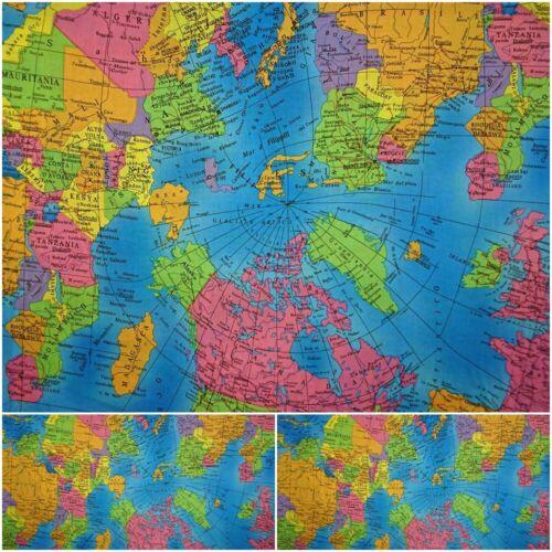 BAUMWOLLSTOFF Welt Baumwolle Meterware KinderstoffWeltkarte Atlas Landkarte
