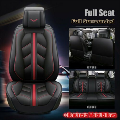 Sport Style Full Seat PULeather Car Seat Cover Cushion Pad 5DSurround Breathable