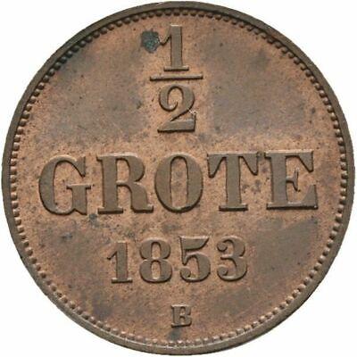 Kleinmünzen & Teilstücke Oldenburg 1/2 Grote Nicolaus Friedrich Peter 1853 B Kupfer #500