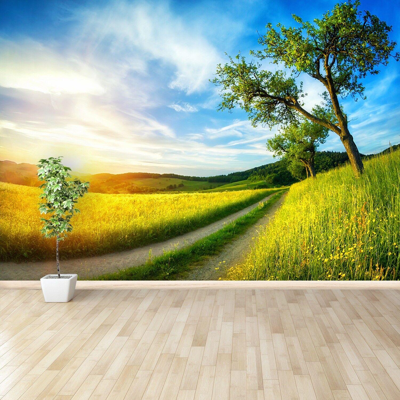 Fototapete Selbstklebend Einfach ablösbar Mehrfach klebbar Wiese Baum