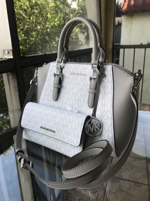 Michael Kors Women Leather Messenger Crossbody Handbag Purse Satchel Bag +Wallet