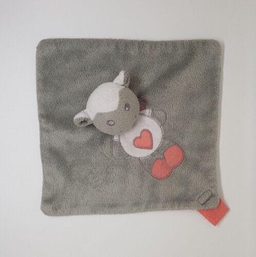 Doudou plat Mouton gris rose coeur attache tétine CARTOON CLUB