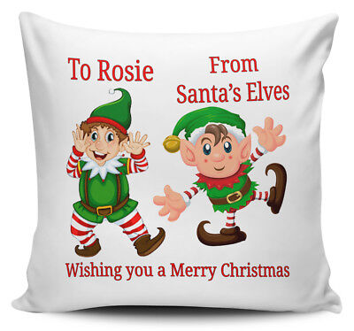 Personalised Christmas Girl Elf Cushion Cover • Your Name • Great Festive Gift