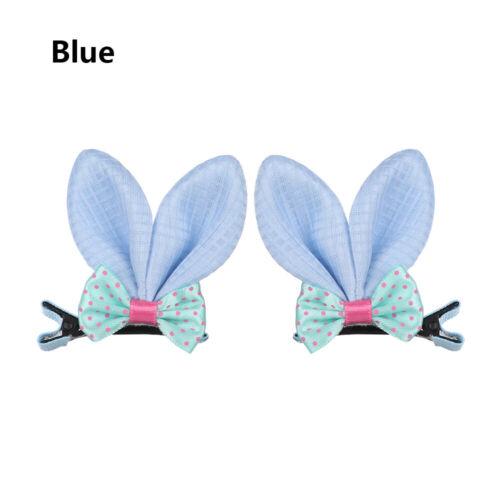 2Pcs Cute Kids Baby Girls Hair Clips Rabbit Ear Hairpins Bow Barrettes Headwear