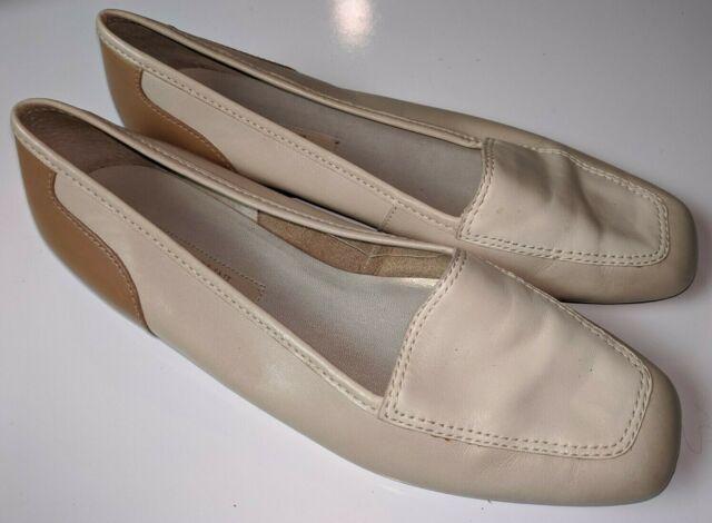 ENZO ANGIOLINI Beige Tan Cream Leather Liberty Flats Loafers Slip On Women's 8 M