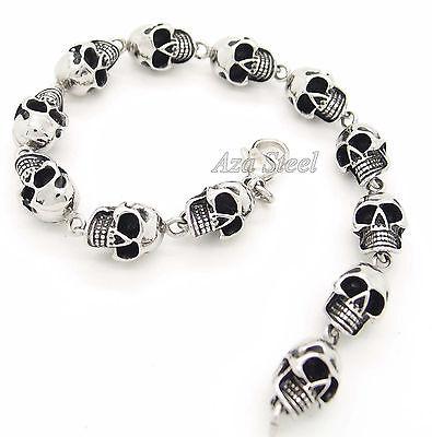 """New Mens Silver Skulls 316L Stainless Steel Biker Chain Bracelet 8.5"""""""
