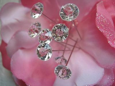 100 WEDDING FLORAL BOUQUET PINS DIAMONDS CRYSTALS RHINESTONES STEMS CORSAGE PIN