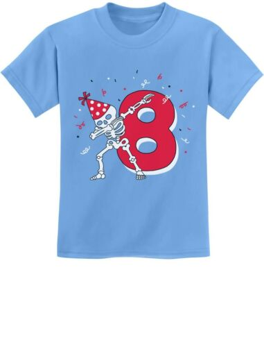 Dabbing Skeleton 8th Birthday Eighth Year Dab Youth Kids T-Shirt Dance