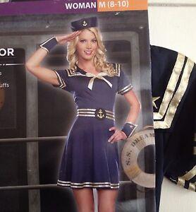 Sailor-Costume-Womens-Size-M-8-10-Medium-Halloween-Cosplay-Blue-Dress
