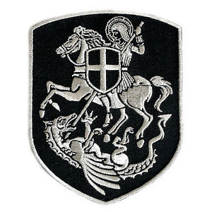 VEGASBEE-ST-GEORGE-ON-HORSE-SLAYING-DRAGON-CROSS-SHIELD-PATCH-SILVER-EMBROIDERY